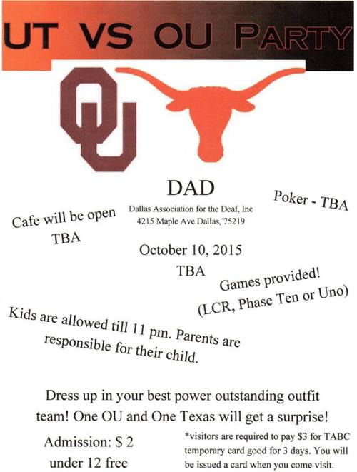 DAD OU vs UT 2015 flyer