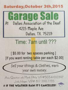 DAD garage sale October 2015 flyer