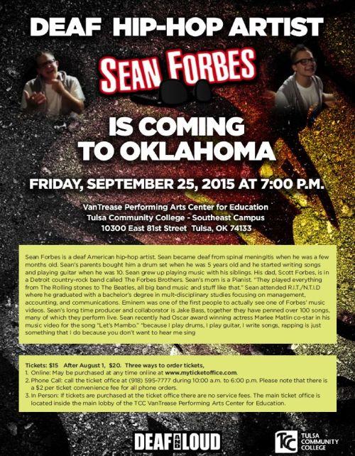 Deaf Hip Hop Sean Forbes Flyer Oklahoma