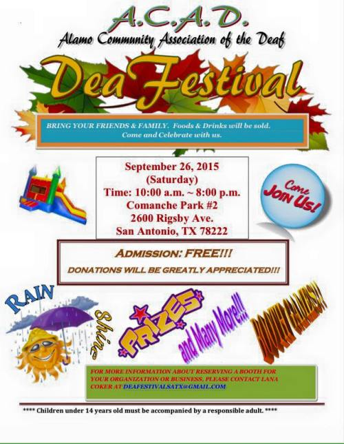 alamo community association of the deaf festival flyer 2015