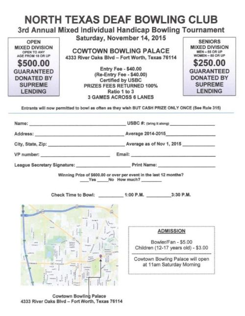 North Texas Deaf Bowling Club 3rd Annual Bowling Tournament 2015