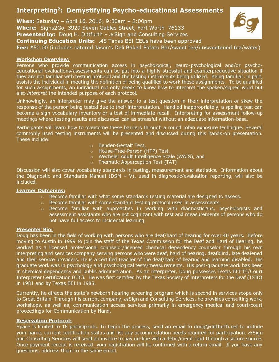 Interpreter Workshop Demystifying Psycho Educational Assessments