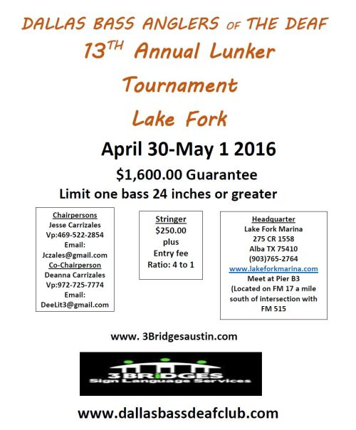 DALLAS BASS ANGLERS OF THE   DEAF 2016