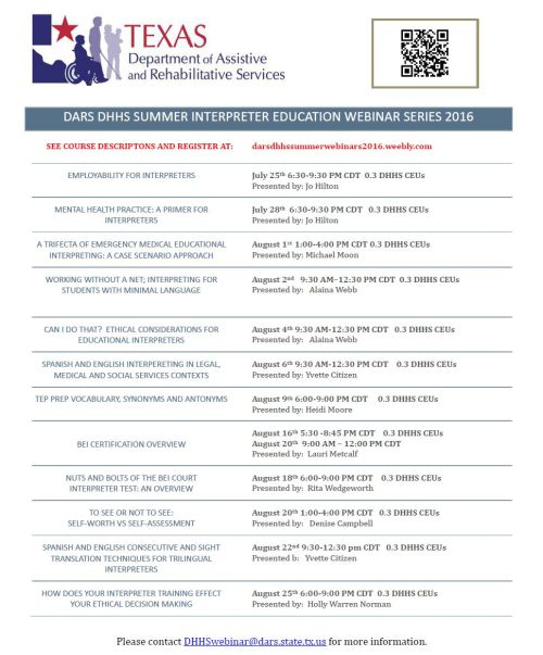 TSID DARS DHHS Summer Webinar Series Flyer