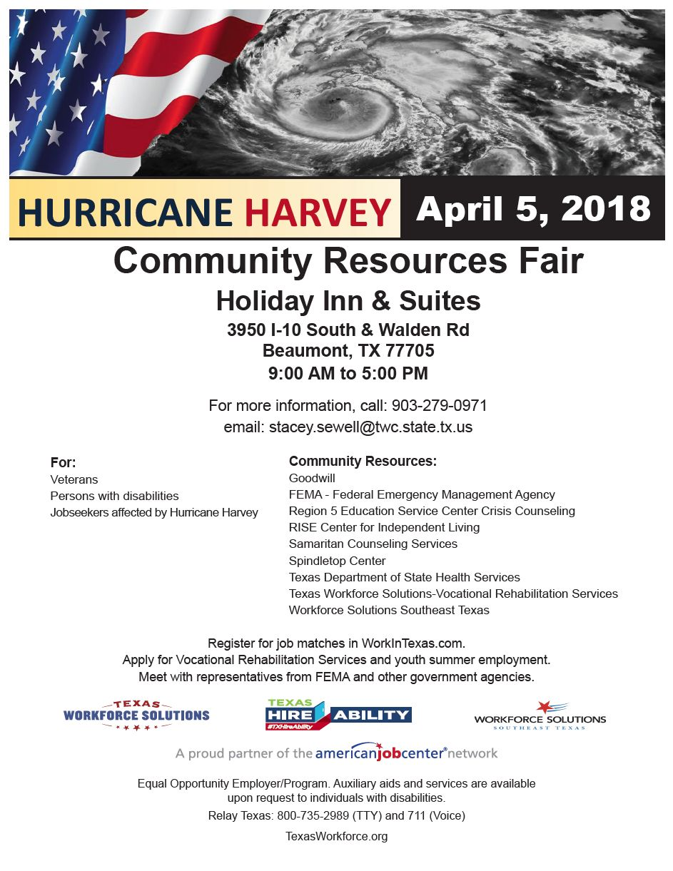 Hurricane Harvey Community Resources Fair 4 5 18 Beaumont Deaf