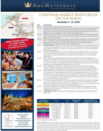 Christmas Market River Cruise on the Rhine December 3-14, 2020 Click image to view big picture.
