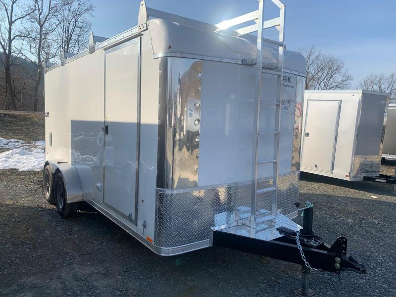 2021 look lxt 7x16 10k millhouse tool barn cargo enclosed trailer roof rack with ladder tool storage work bench electrical package