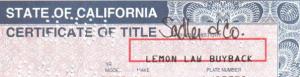 lemon law buyback title
