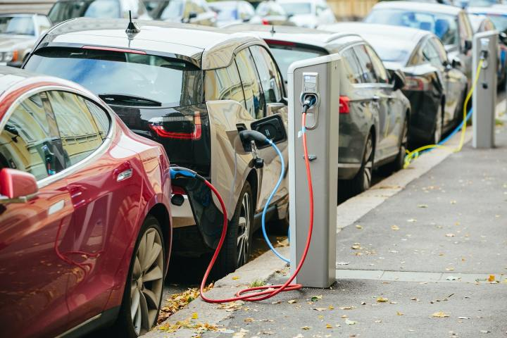 EV Electric Vehicles parked and charging