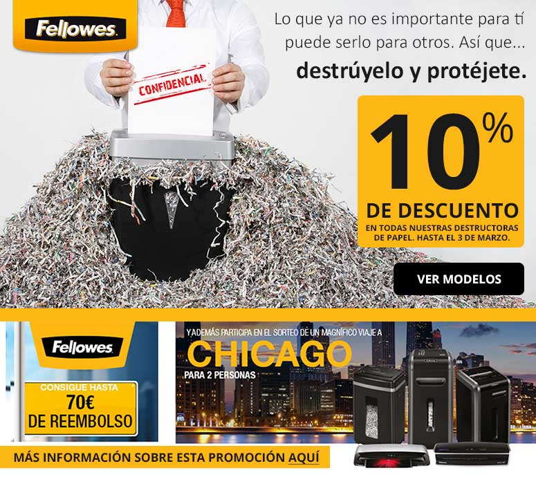 promocion en destructoras fellowes