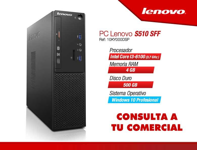 PC LENOVO S510 10KY SFF I3-6100-4G-500G-W10P