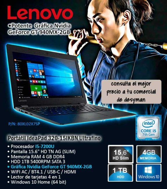 """PORTATIL LENOVO IdeaPad 320-15IKBN i5-7200U 15.6"""" 4GB 1TB GeFORCE GT940MX-2GB USB-C W10 COLOR ONYX BLACK DISEÑO SLIM"""