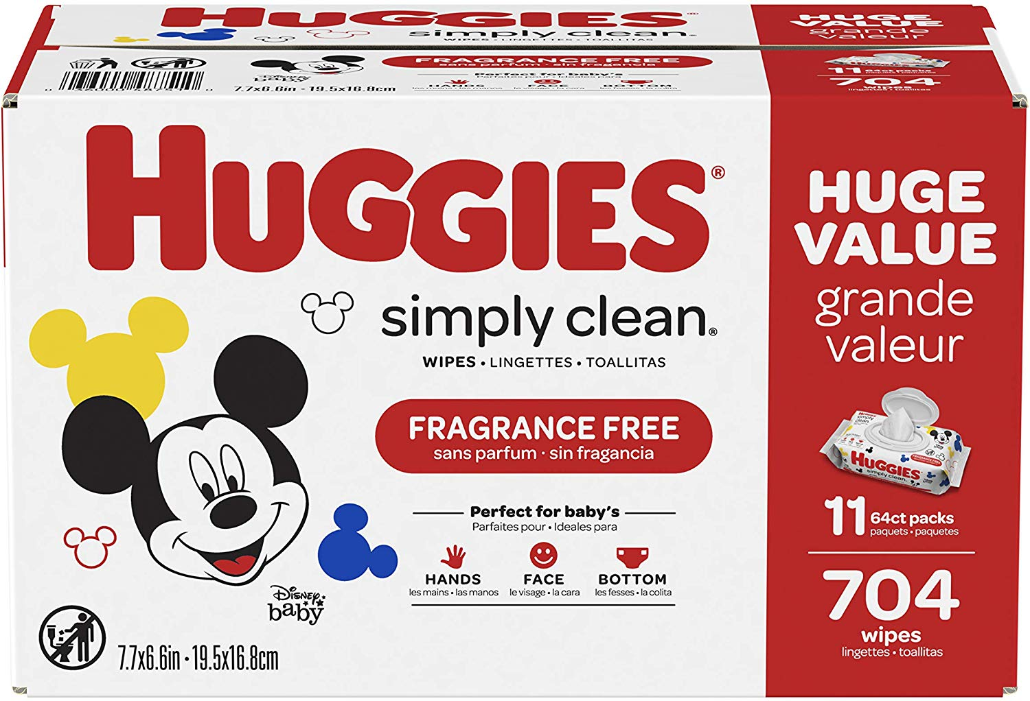 HUGGIES Simply Clean Baby Wipes, 2 Huge Boxes (1,408 wipes) only $21.56!