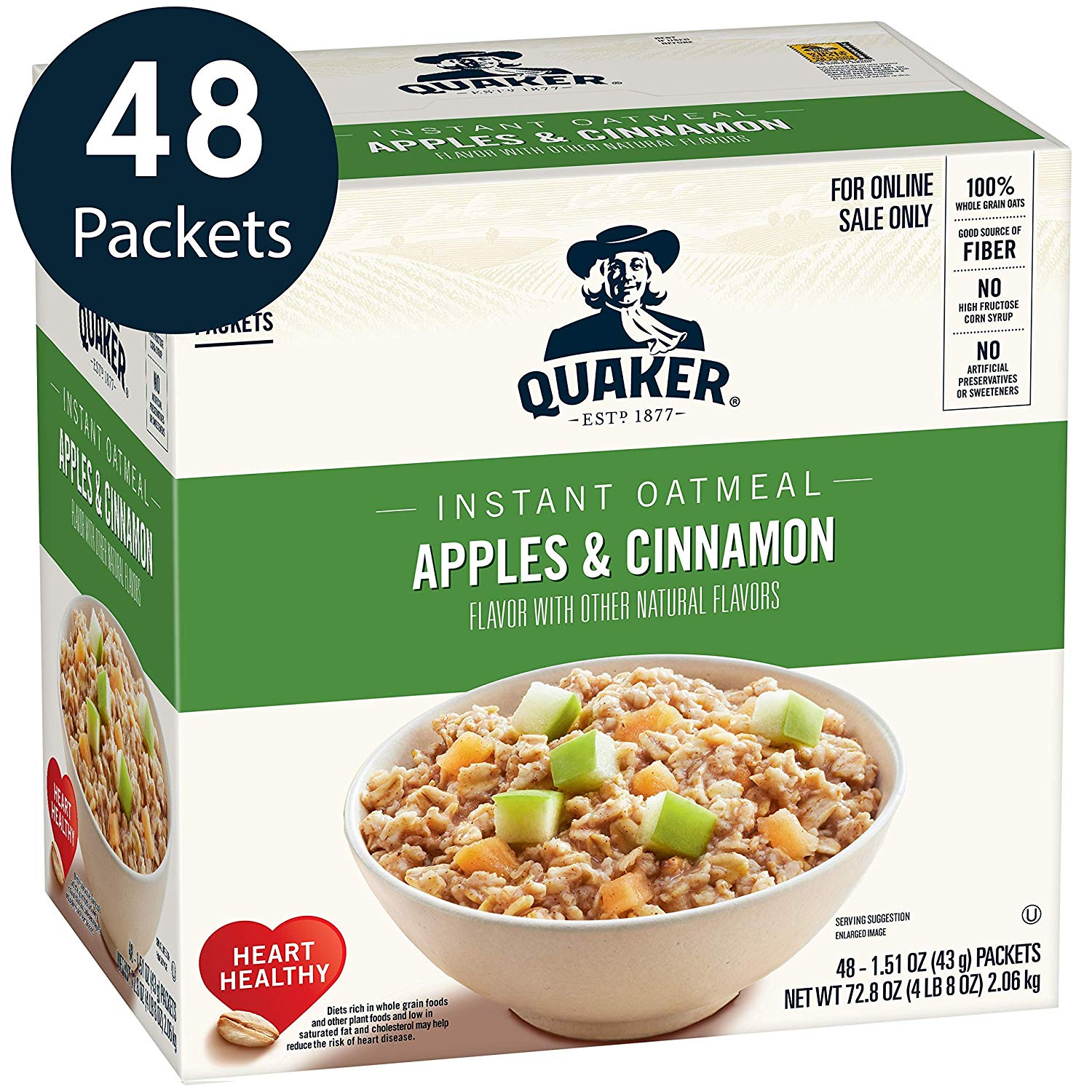 Quaker Instant Oatmeal, Apples & Cinnamon, 48 Count only $6.69! (25% off)
