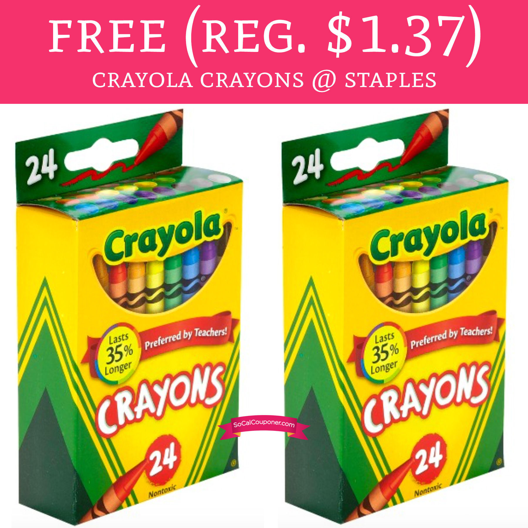free regular 137 crayola crayons 24 count staples deal hunting babe - Free Crayola Crayons