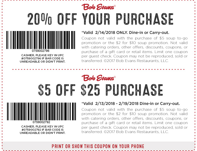 Bob Evans Coupon 20 Off Or 15 25 Your Purchase