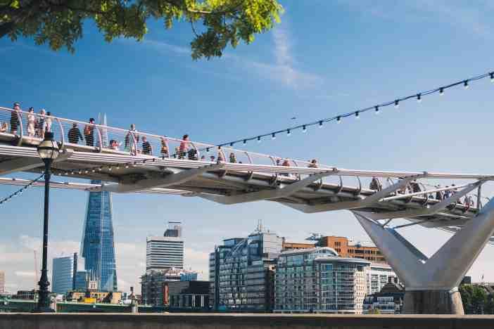 People walk over the Millennium Bridge in London