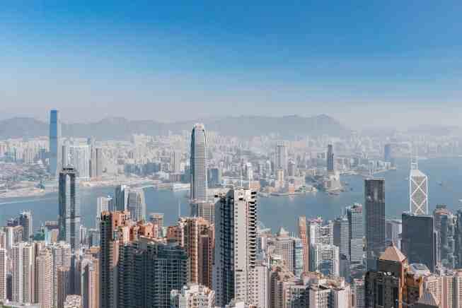 Hong Kong below, seen from a high vantage point