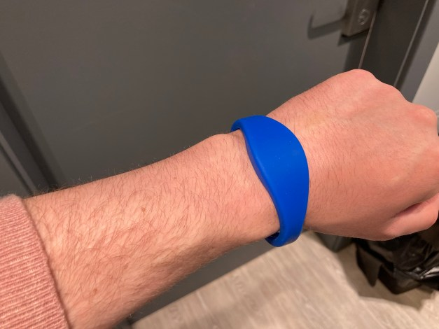 My wristband that gets me in my flat