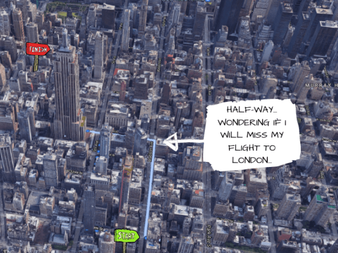 Map of my walking route to the ESB from the hotel