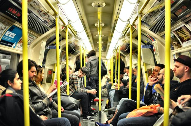 a packed Underground train in London