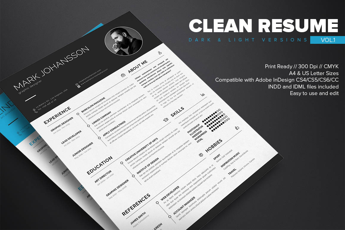 Clean InDesign Resume Template   Dealjumbo com     Discounted design       indd     idml files  for Adobe InDesign