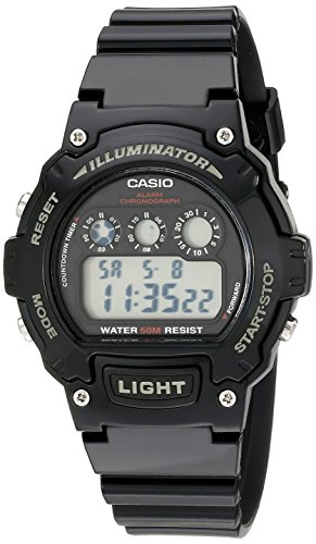 Casio Kids' W-214HC-1AVCF Black Resin Digital Watch