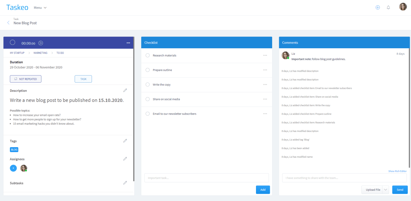 Taskeo: Project Management Made Easy
