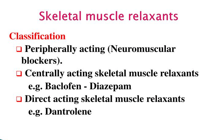 skeletal Muscle Relaxants-classification