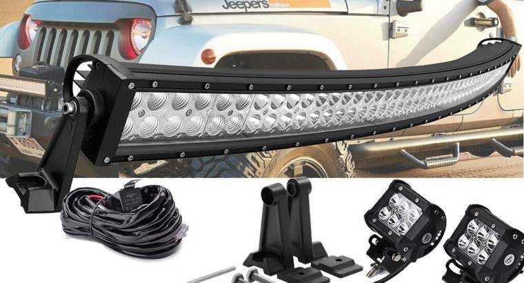 50″ Curved LED Light Bar Combo 1993-98 Jeep Grand+ 2X 4″ 18W Led Flood Lamp +1X Wiring Harness