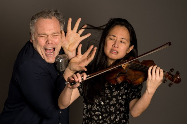 "The performances of Vincent D'Onofrio (left) and musician Dana Lyn collide in ""Slim Bone Head Volt,"" out March 3, 2015."