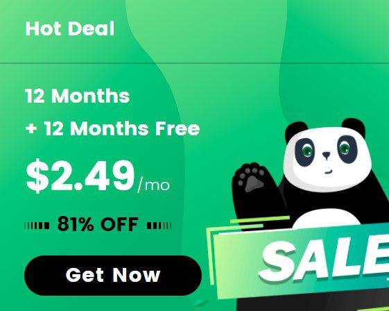 PandaVPN 12 Months + 12 Months Free $2.49 per month 81% OFF