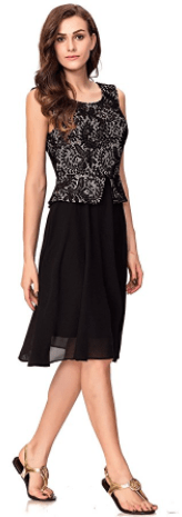 Noctflos Women's Black Business Casual Peplum Fit and Flare Dress 2
