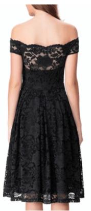 Noctflos Women's Off Shoulder Lace Swing Dress For Cocktail Wedding Black 1