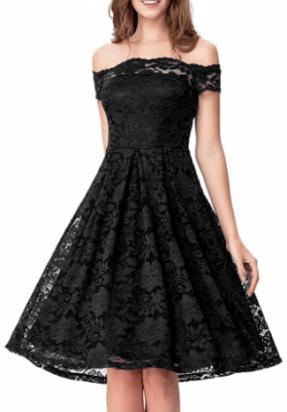Noctflos Women's Off Shoulder Lace Swing Dress For Cocktail Wedding Black
