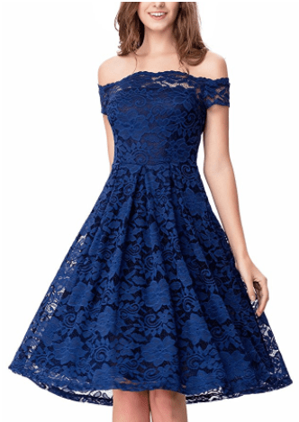 Noctflos Women's Off Shoulder Lace Swing Dress For Cocktail Wedding Blue