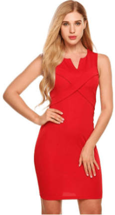 Women Sexy V-neck Solid Sleeveless Business Pencil Bodycon Mini Dress Red