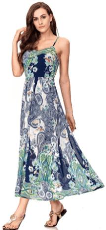 Women's Sexy Spaghetti Strap V-Neck Floral Print Casual Maxi Dress 4