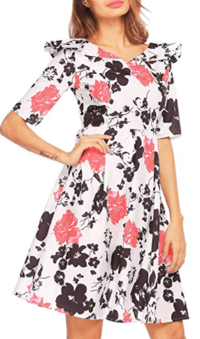 381062daa9b7 Women s 1950s Vintage Floral Print Pleated Casual Dress