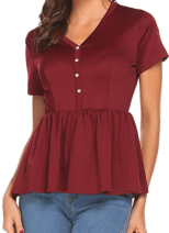 10ca4c3310 Deals Finders | Amazon : Women's Ruffle Hem Short Sleeve V Neck ...