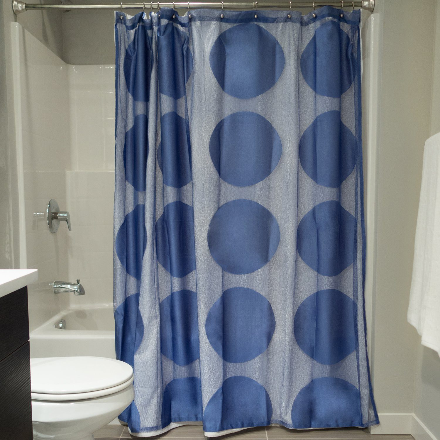 100% Polyester Extra Long Bath Fabric Shower Curtain 72x72