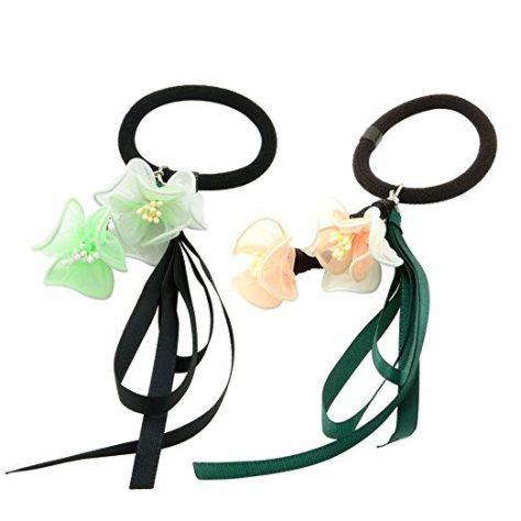 2pcs Handmade Hair Elastics Flower Ribbon Ponytail Holders.jpg 444ddcaa3b2