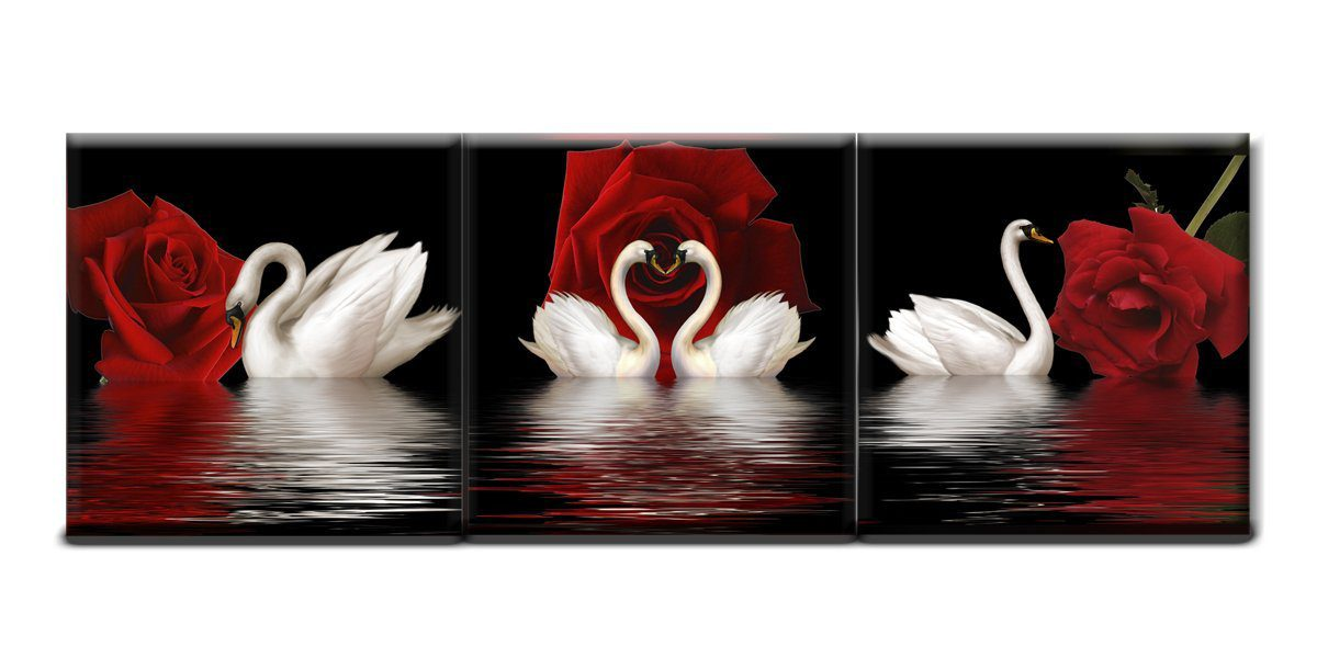 Unframed 3pcs Beautiful Romantic Swans Art Print on Canvas Red Rose Flowers Wall Art Pictures Picture Poster for Home Office Hotel Club Bedroom Bathroom Living Room Wall Decoration 16x16inchx3pcs