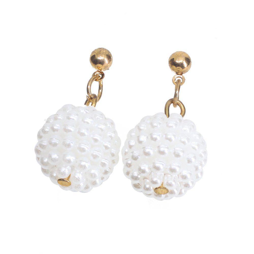 Womens Pretty Velvet Plum Blossom Flower Earrings Simulated Pearl Jewelry Cute Ball Stud Earrings
