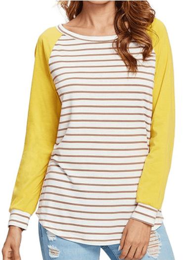 c92d20783dcc Romwe Women s Casual Color Block Tee Raglan Striped Loose T-Shirt Top