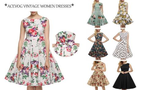 0c09471aab14 Vintage 1950 s Floral Spring Garden Party Picnic Dress Party Amazon3