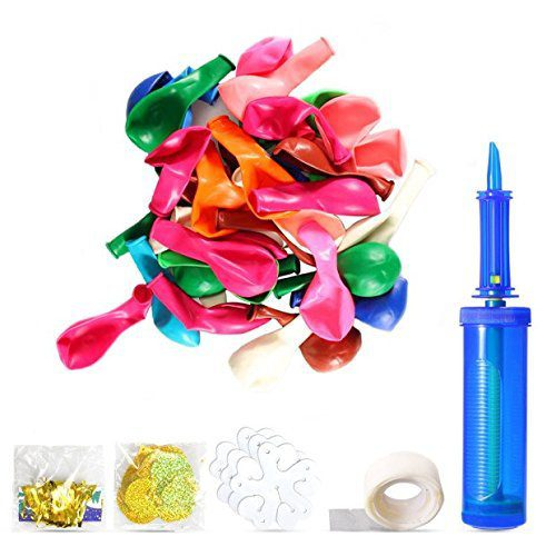 100pcs Party Balloons Assorted Colors with Hand Held Air Inflator Ribbon Balloon Accessories Thicker Latex Balloons 1