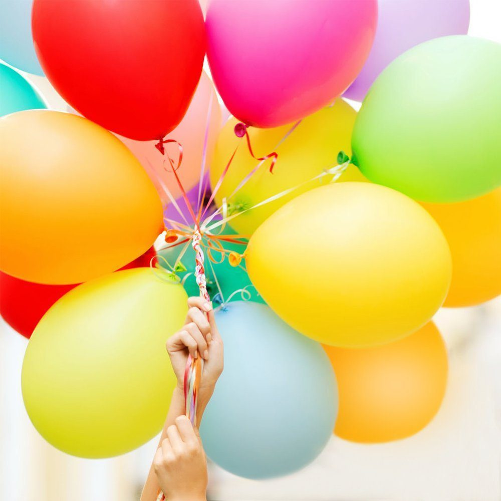 100pcs Party Balloons Assorted Colors with Hand Held Air Inflator Ribbon Balloon Accessories Thicker Latex Balloons 5
