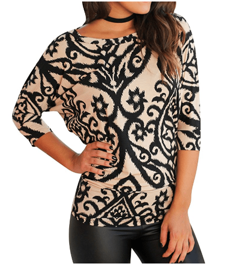 2018-06-14 14_52_34-Amazon.com_ Nlife Women Casual Floral Print Blouse Round Neck 3_4 Sleeve Tunic T