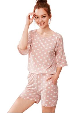 2018-06-14 23_45_35-SheIn Women's Summer Polka Dot Tee & Shorts Pajamas Set Sleepwear at Amazon Wome
